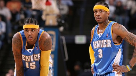 OAKLAND, CA - DECEMBER 28:  Carmelo Anthony #15 and Allen Iverson #3 of the Denver Nuggets look up court during the game the Golden State Warriors on December 28, 2007 at ORACLE Arena in Oakland, California.  The Nuggets won 124-120.  NOTE TO USER: User expressly acknowledges and agrees that, by downloading and or using this Photograph, user is consenting to the terms and conditions of the Getty Images License Agreement. Mandatory Copyright Notice: Copyright 2007 NBAE (Photo by David Sherman/NBAE via Getty Images)